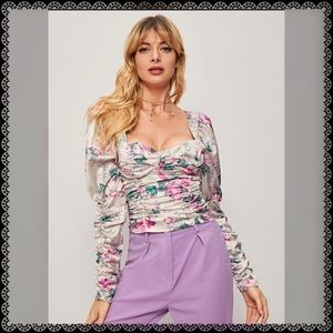 FLORAL PRINT TIED BACK SHIRRED BLOUSE